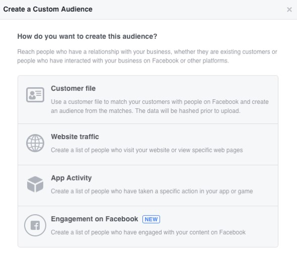 Choose from four Facebook custom audience categories.